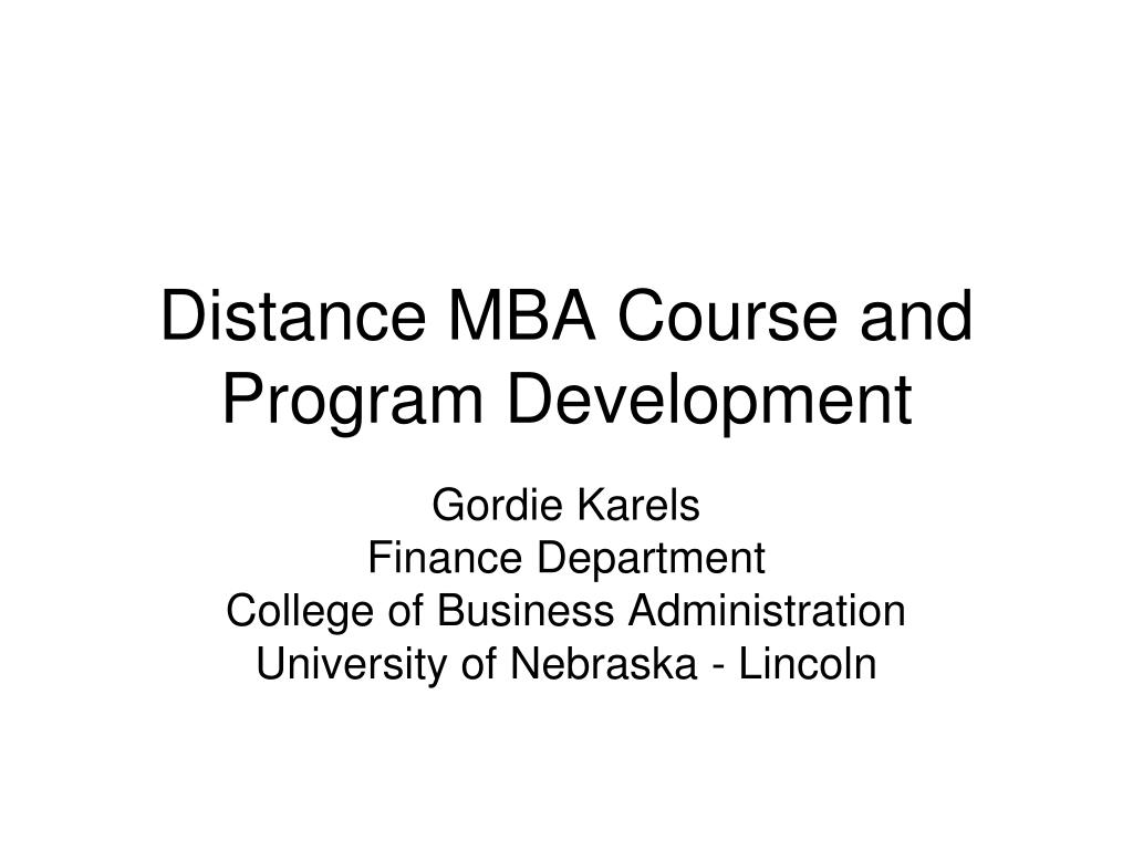 distance mba course and program development l.