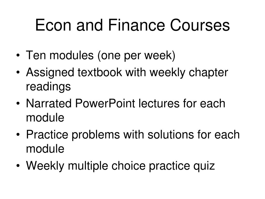 Econ and Finance Courses