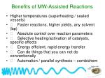benefits of mw assisted reactions