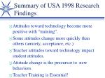 summary of usa 1998 research findings