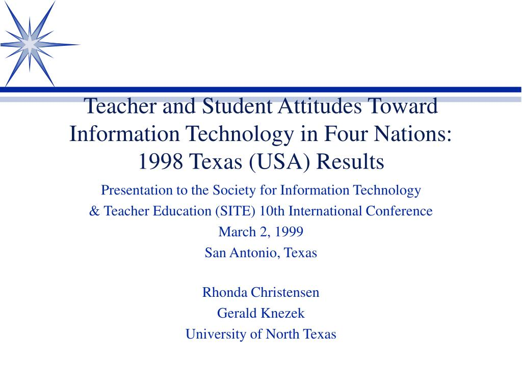 teacher and student attitudes toward information technology in four nations 1998 texas usa results l.