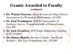 grants awarded to faculty continued