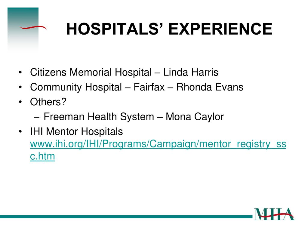 HOSPITALS' EXPERIENCE