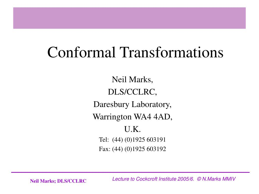 conformal transformations l.