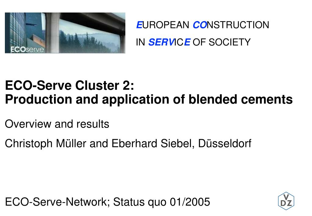 eco serve cluster 2 production and application of blended cements l.
