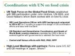 coordination with un on food crisis