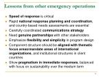 lessons from other emergency operations