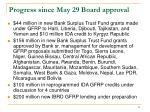 progress since may 29 board approval