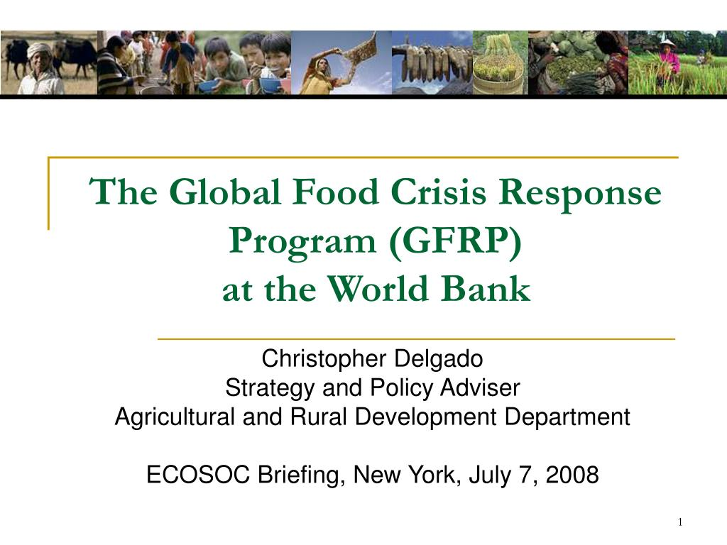 the global food crisis response program gfrp at the world bank l.