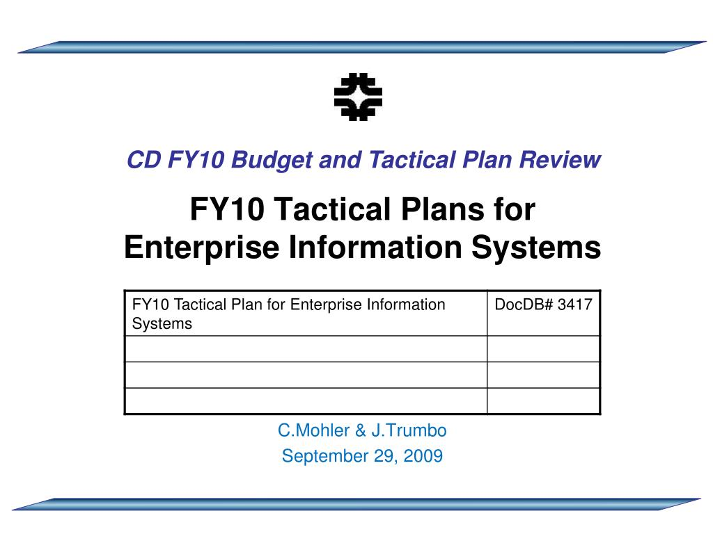 fy10 tactical plans for enterprise information systems l.