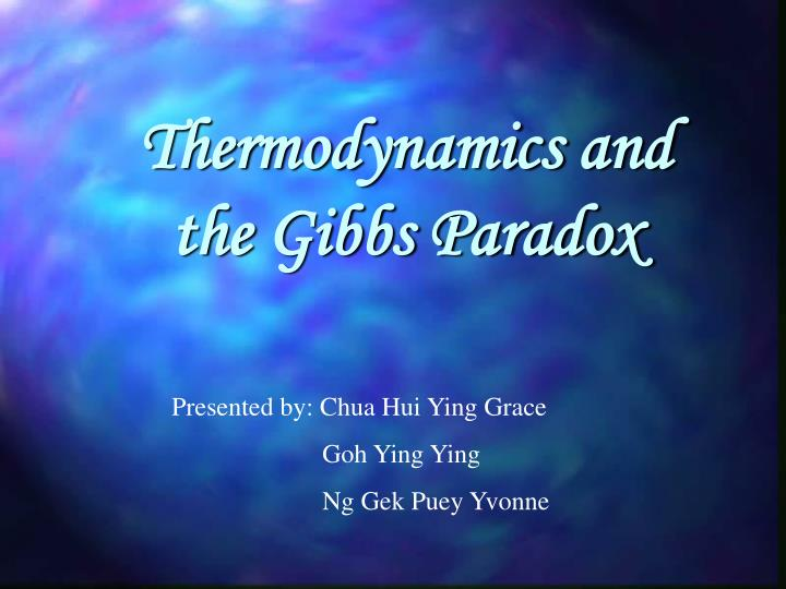 thermodynamics and the gibbs paradox n.