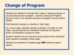 change of program