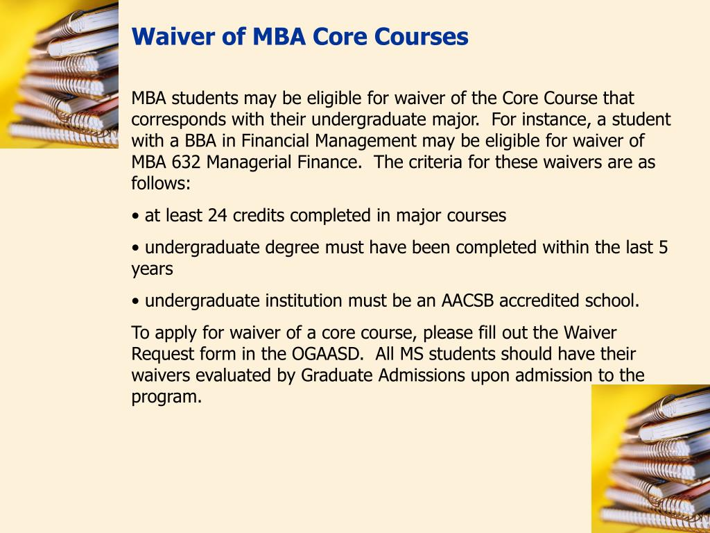 Waiver of MBA Core Courses