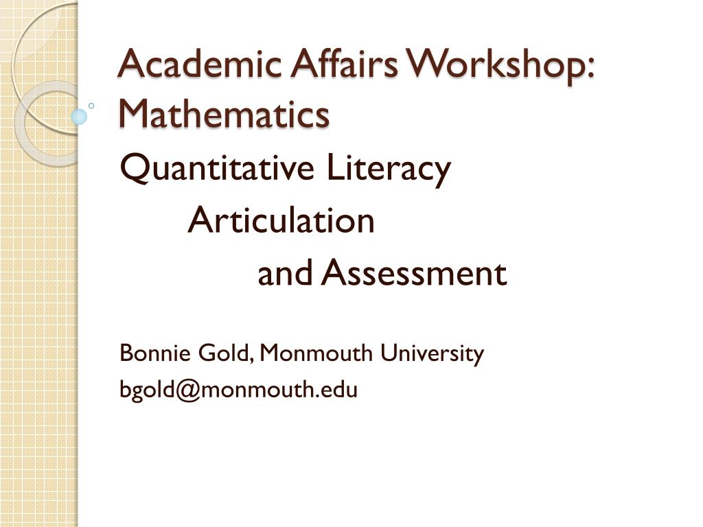 academic affairs workshop mathematics l.