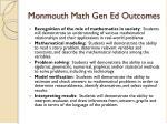 monmouth math gen ed outcomes