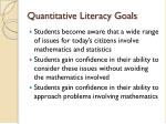quantitative literacy goals