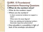 quirk 10 foundational quantitative reasoning questions