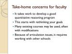 take home concerns for faculty