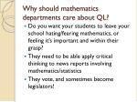 why should mathematics departments care about ql