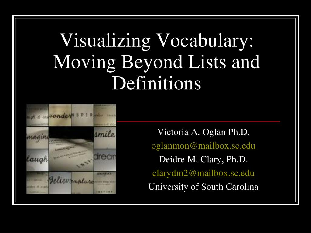 visualizing vocabulary moving beyond lists and definitions l.
