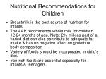 nutritional recommendations for children
