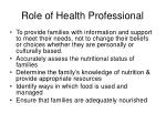 role of health professional