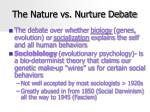 the nature vs nurture debate