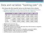 data and variables banking side 3