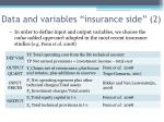 data and variables insurance side 2