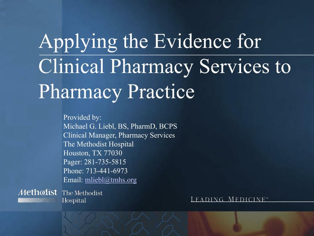applying the evidence for clinical pharmacy services to pharmacy practice l.