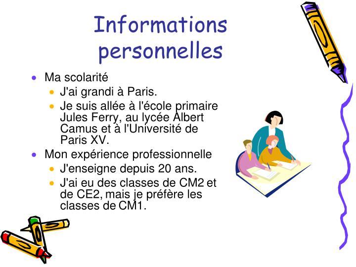 Informations personnelles