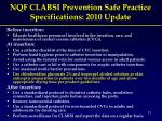 nqf clabsi prevention safe practice specifications 2010 update