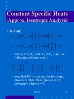 constant specific heats approx isentropic analysis