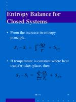 entropy balance for closed systems