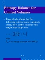 entropy balance for control volumes