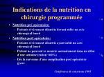indications de la nutrition en chirurgie programm e