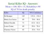 serial killer iq answers mean 100 sd 15 reliability 90 iq of 70 for death penalty