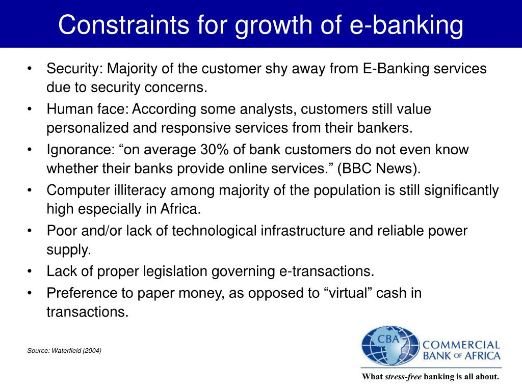 Constraints for growth of e-banking