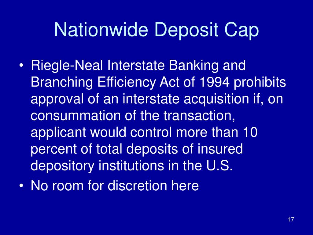 Nationwide Deposit Cap