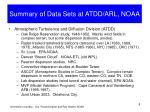 summary of data sets at atdd arl noaa