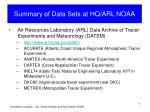 summary of data sets at hq arl noaa