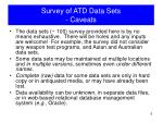 survey of atd data sets caveats