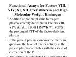 functional assays for factors viii viv xi xii prekallikrein and high molecular weight kininogen16