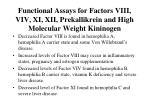 functional assays for factors viii viv xi xii prekallikrein and high molecular weight kininogen17