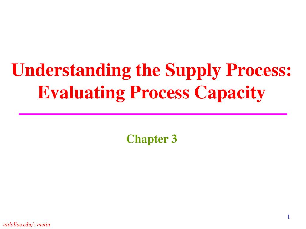 understanding the supply process evaluating process capacity l.