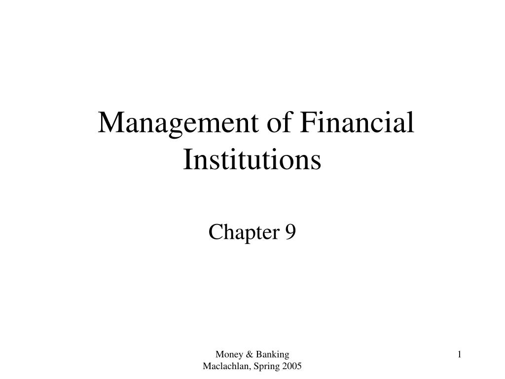management of financial institutions l.