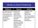 identity as social positioning15