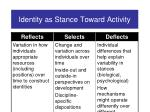 identity as stance toward activity20