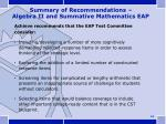 summary of recommendations algebra ii and summative mathematics eap