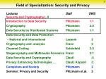 field of specialization security and privacy